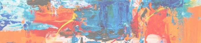 abstract art image with shades of blue, orange, white, and black