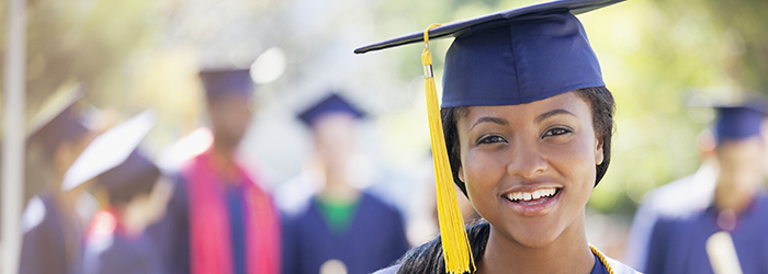 photo of student in cap and gown